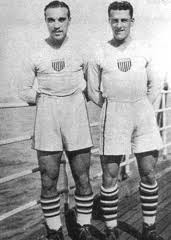 The Dymamic Duo: Gonsalves (left) and Bert Patenaude pose on the ship to Uruguay, 1930