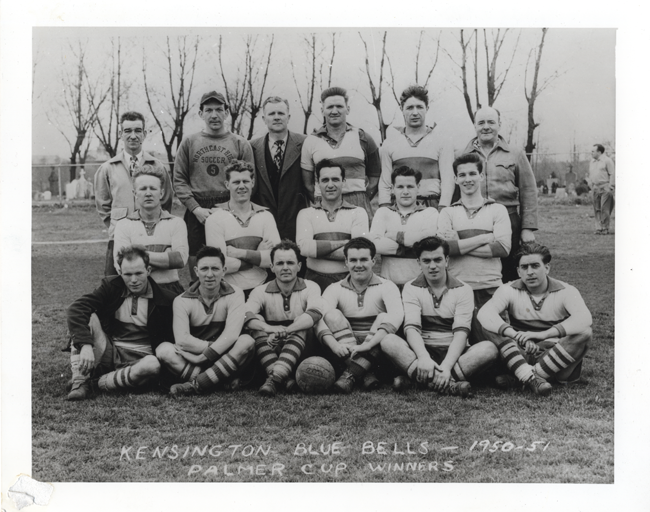 The Kensington Blue Bells in 1950-51. Oliver is in the second row, first on the right. Photo courtesy of Len Oliver.