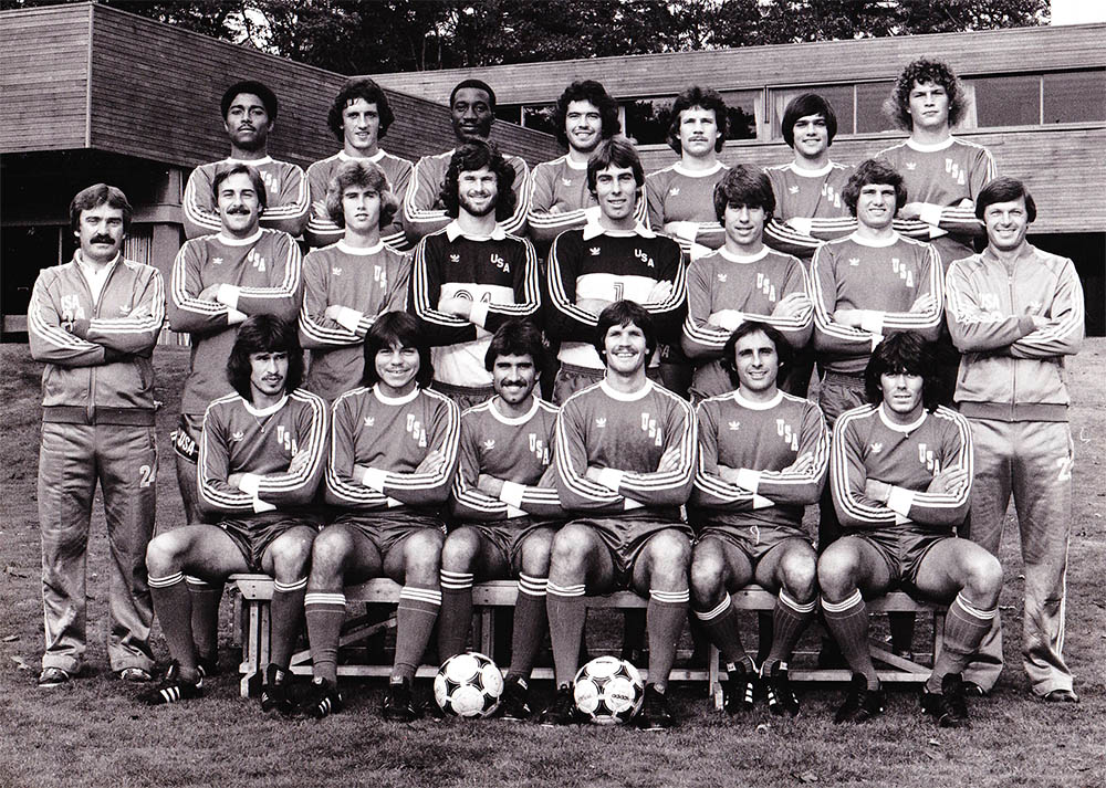 THe 1980 US team that defeated Mexico, 2-1, in Florida on Nov. 23, 1980. Moyers is top row, last on the right.