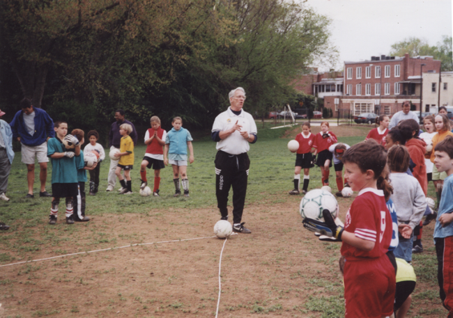 Len, who has trained over 5,000 coaches from 91 countries, also continues to coach youth soccer players in the DC area. Photo courtesy of Len Oliver.