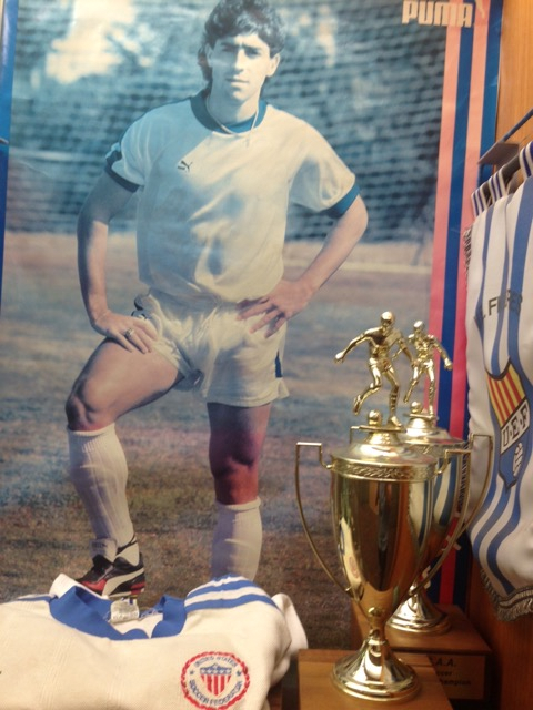 St. Benedict's Prep trophy case with Tab Ramos' 1990 World Cup jersey. Photo: Courtesy of St. Benedict's Prep School.