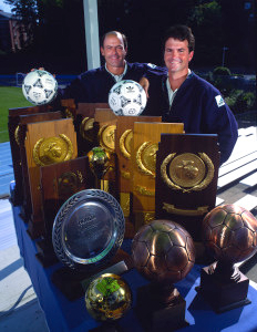 Anson Dorrance, right, has made UNC women's soccer the foremost collegiate sports dynasty with 22 national championships. (Courtesy UNC)