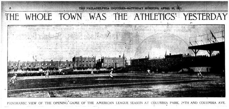 Columbia Ball Park. From the April 27, 1901 edition of the Philadelphia Inquirer