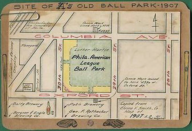 Columbia Park, bordered by breweries, home of Connie Mack's soccer team in 1901-1902