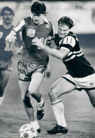 While dominant in the highly-competitive NASL that year, Toronto Blizzard (lead by David Byrne, left) lost the finals in a best-of-three series to Chicago Sting. Photo courtesy of NASLjerseys.com.