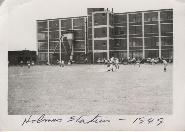 Holmes Stadium, home of the ASL's Philadelphia Nationals, in 1949. Pictured is Lighthouse Boys Club in action. Photo courtesy of Len Oliver.