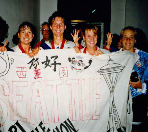 From left, Lori Henry, Michelle Akers, Shannon Higgins and Amy Allmann, minutes after the USWNT won the first FIFA Women's World Cup. (Courtesy Lori Henry)