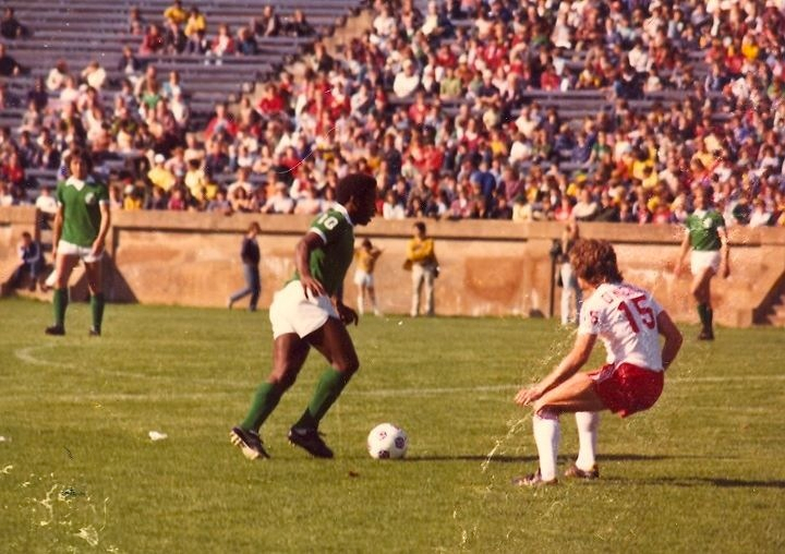 O'Neill defending Pele at the Yale Bowl, 1977. (Photo: Personal Collection of Hugh O'Neill)