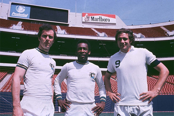 Franz Beckenbauer, Pele, and Giorgio Chinaglia. Photo courtesy of nasljerseys.com
