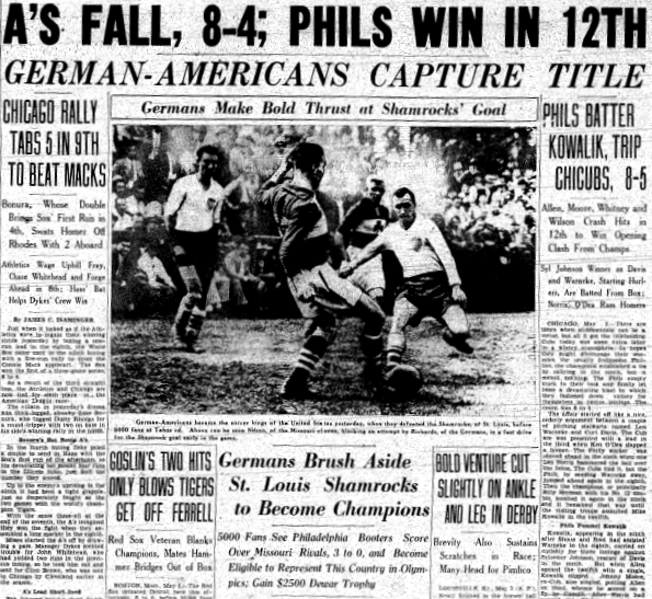 German Americans win 1936 National Challenge Cup. From the May 4, 1936 edition of the Philadelphia Inquirer.