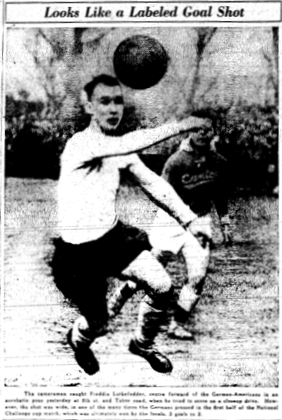 Frank Lutkefedder in action against Baltimore Canton. From the March 16, 1936 edition of the Philadelphia Inquirer.