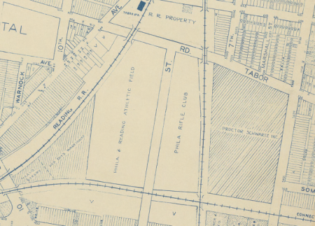 The Philadelphia German Americans grounds at Eight and Tabor. Detail from 1942 Philadelphia Land Use map.