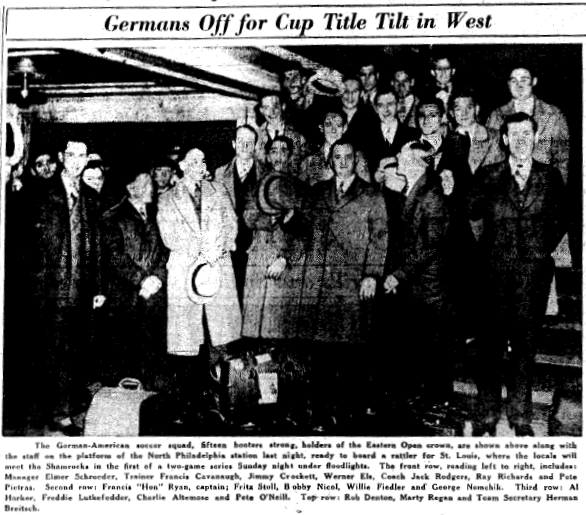 German Americans depart for St. Louis and the first leg of the 1936 National Challenge Cup final. From the April 25, 1936 edition of the Philadelphia Inquirer.
