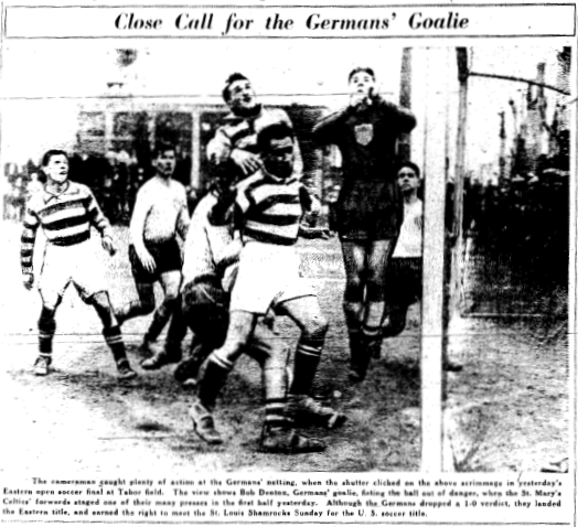 The German Americans lose at home to Brooklyn's St. Mary's Celtic but advance to the National Challenge Cup final on aggregate. Photo from April 20, 1936 edition of the Philadelphia Inquirer.