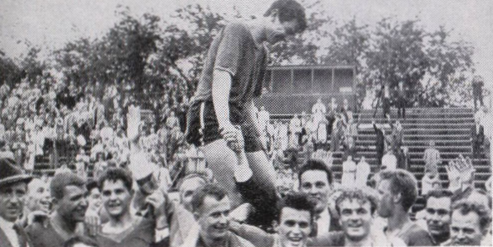 Noha carried by crowd after Ukrainian Nationals 1960 US Open Cup win