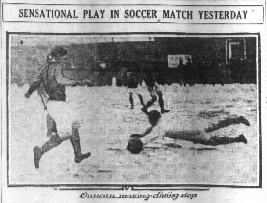 Bethlehem goalkeeper Duncan makes a save in teh game against the Chicago All-Star team. From the December 24, 1916 edition of the Chicago Daily Tribune.