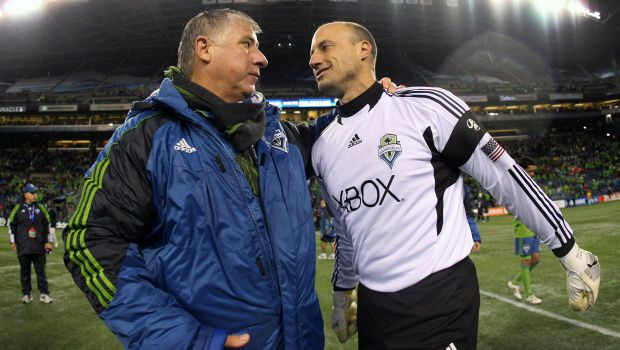 Sigi Schmid and Kasey Keller. Photo courtesy of Sounders SC