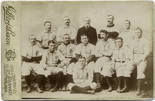 The 1891 Phillies. Charlie Reilly is first row, second from the left and Sam Thompson is next to him, third from the left.