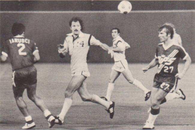 Frank Worthington (No. 14) against the Washington Diplomats. Photo courtesy of NASLjerseys.com.
