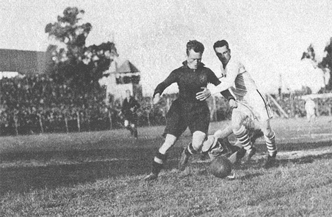 Bert Patenaude (in white) with the US at the 1930 World Cup.
