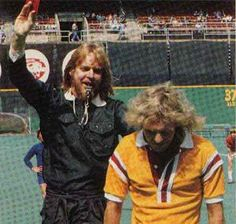 Rock and Roll soccer: Rick Wakeman and Peter Frampton at a Fury charity match.