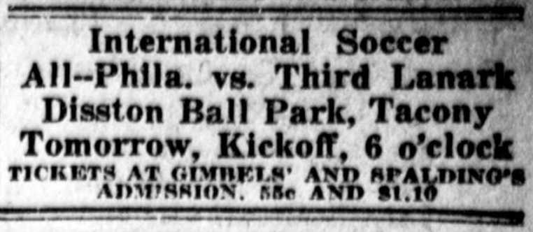 Ad for the Philadelphia game in the Public Ledger, July 15, 1921