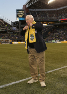 In 2013 Robertson was presented the Golden Scarf by Sounders FC. Photo courtesy Sounders FC)