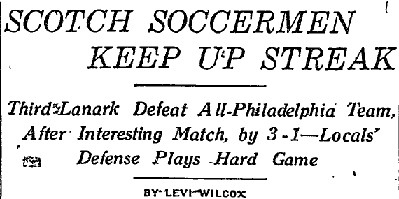 Headline of Philadelphia Inquirer match report, July 17, 1921.
