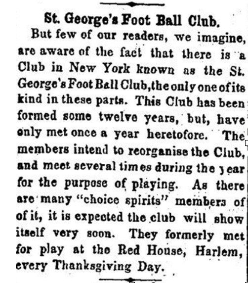 NYC Originals: Thanksgiving Games of the St. George's Foot Ball Club