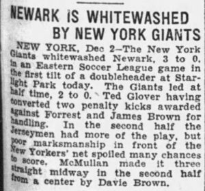 Newspaper article on soccer match