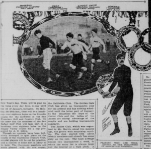 Slection from a newspaper showing photos of a soccer match