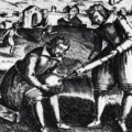 A 17th Century engraving from England showing the inflating of an animal bladder football.