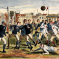 England vs Scotland, 1872. Note how the goal is constructed — and the scrum of players in front of it.